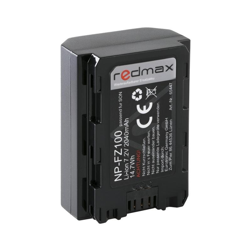 REDMAX zamjenska Sony baterija NP-FZ100, 2040mAh, 7.2V, 14,7Wh za: Sony Alpha 9, Alpha 7RM3, Alpha 7M3/Sony Alpha 7 III/Alpha 7R III - Z-Serie